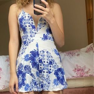 Pants - A blue and white romper